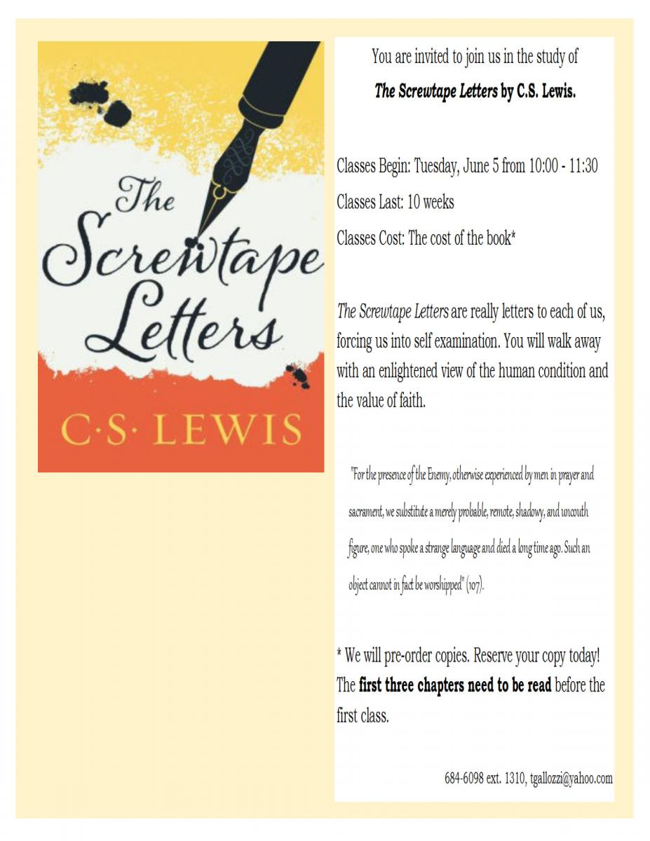 the screwtape letters by cs lewis class